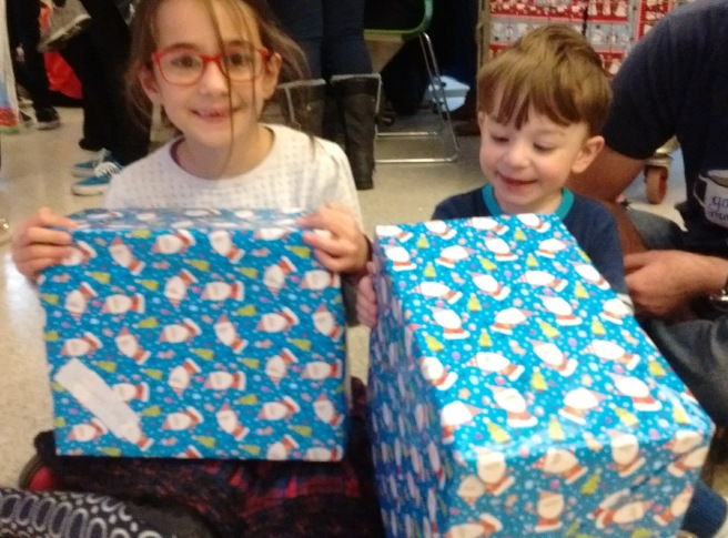 Both with their presents from Father Christmas